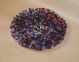 Red White and Blue Textured Bowl
