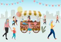 street-market-wooden-cart-toys-flat-illustration-retro-circus-fair-store-stall-wheels-trade-trolley-craft-people-walk-173988679